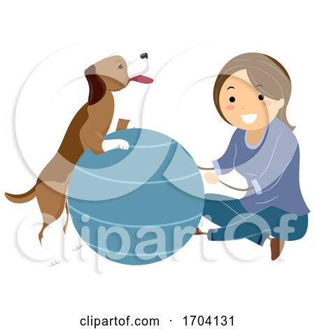 Stickman Girl Dog Ball Therapy Illustration by BNP Design Studio