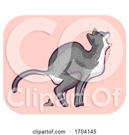 Cat Symptom Meow Pain Defecating Illustration by BNP Design Studio