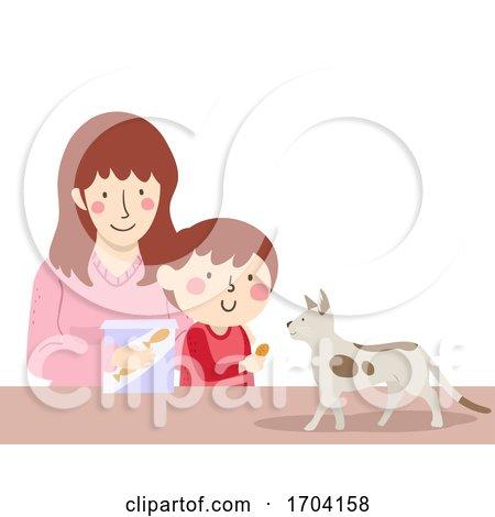 Kid Boy Mom Cat Treat Illustration by BNP Design Studio