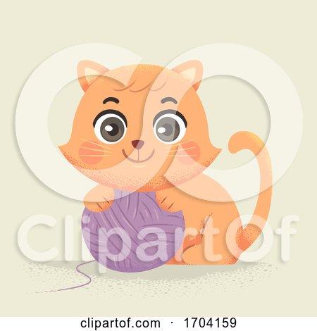 Cat Yarn Ball Illustration by BNP Design Studio