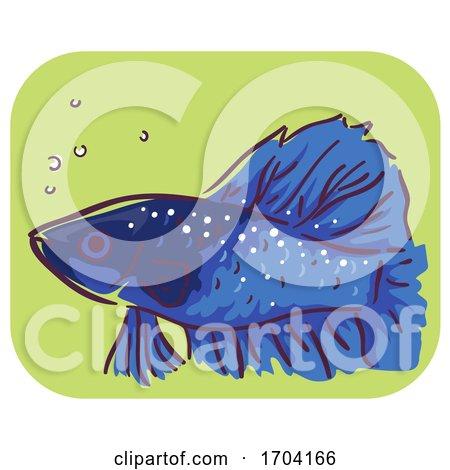 Betta Fish Symptom Ich White Spots Illustration by BNP Design Studio