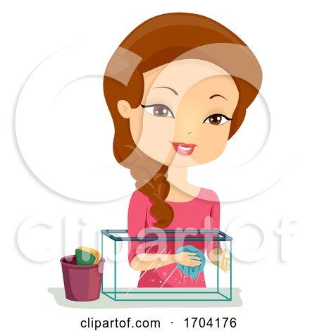 Girl Clean Aquarium Illustration by BNP Design Studio