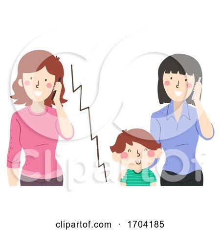 Kid Boy Teacher Call Mom Mobile Illustration by BNP Design Studio