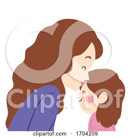 Girl Mom Kiss Kid Girl Forehead Illustration by BNP Design Studio
