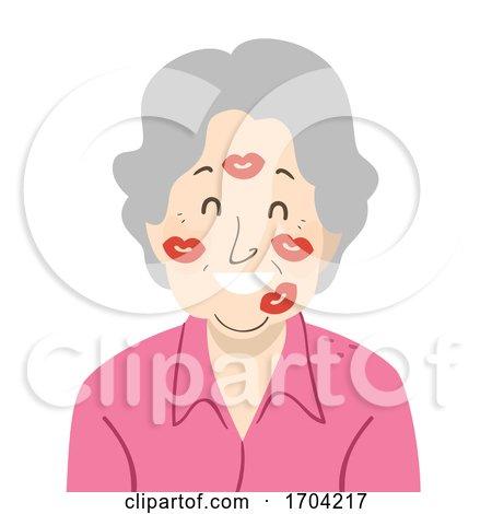 Woman Grandmother Face Kisses Illustration by BNP Design Studio