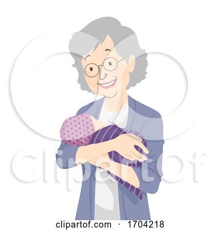 Woman Grandmother Senior Hold Newborn Baby by BNP Design Studio