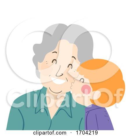 Woman Senior Kid Boy Kiss Grandmother Illustration by BNP Design Studio