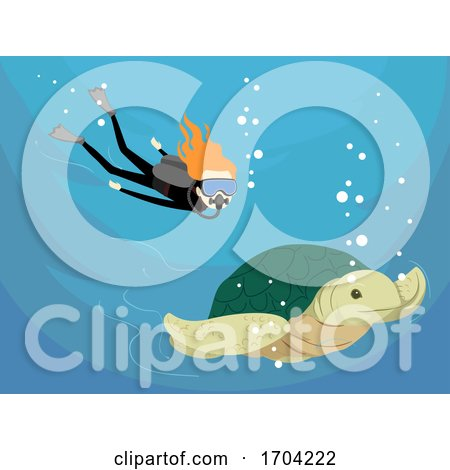 Girl Scuba Diving Sea Turtle Illustration by BNP Design Studio
