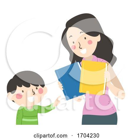 Kid Boy Mom Choose Book Illustration by BNP Design Studio