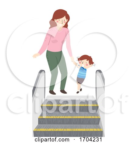 Kid Boy Mom Scared of Escalator Illustration by BNP Design Studio