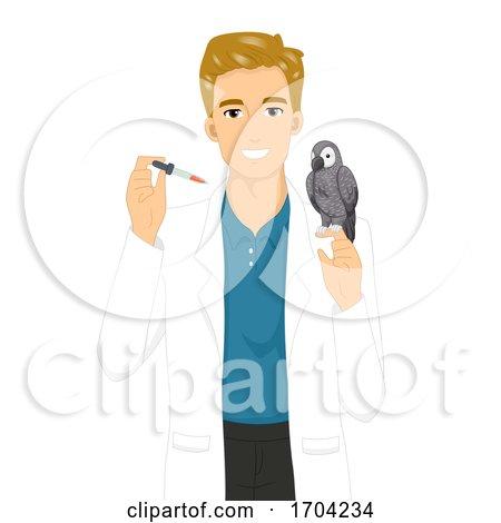 Man Avian Vet Parrot Dropper Illustration by BNP Design Studio