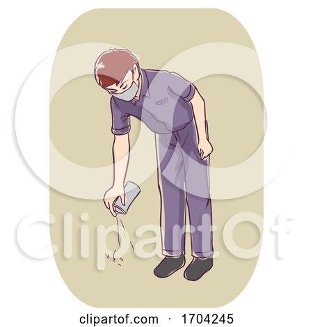 Man Pest Control Spray Floor Illustration by BNP Design Studio