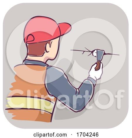 Man Plug Gaps Wall Illustration by BNP Design Studio
