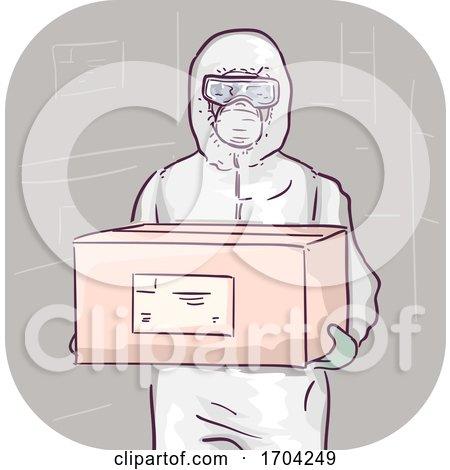 Man Body Protective Suit Carry Box Illustration by BNP Design Studio