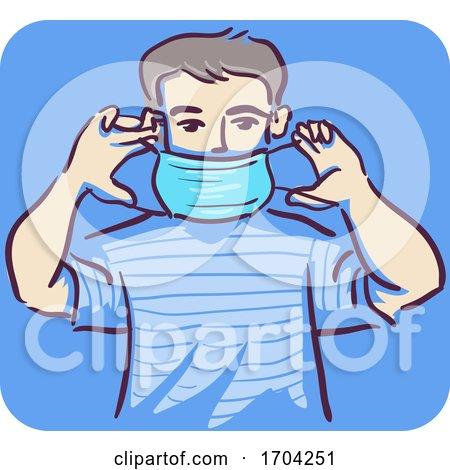 Man How Put Mask Illustration by BNP Design Studio