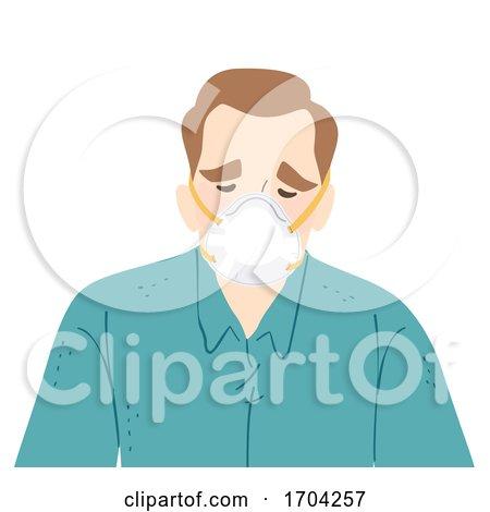 Man Wear N95 Face Mask Sad Illustration by BNP Design Studio
