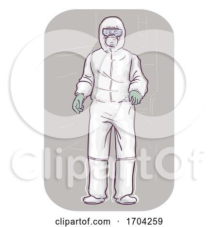 Man Wear Whole Body Protective Suit Illustration by BNP Design Studio