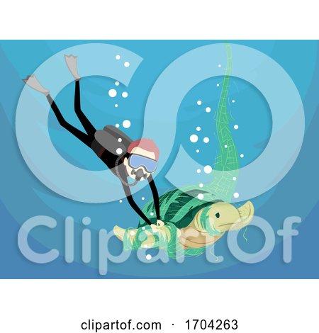 Man Sea Turtle Save Fish Net Illustration by BNP Design Studio