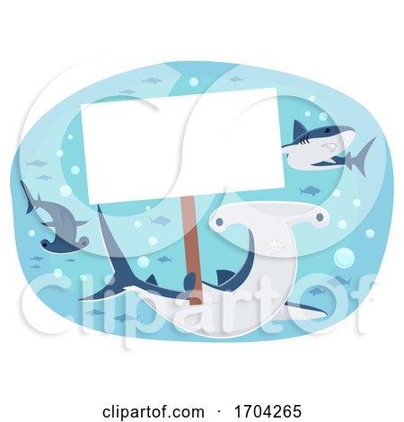 Shark Hold Placard Illustration by BNP Design Studio