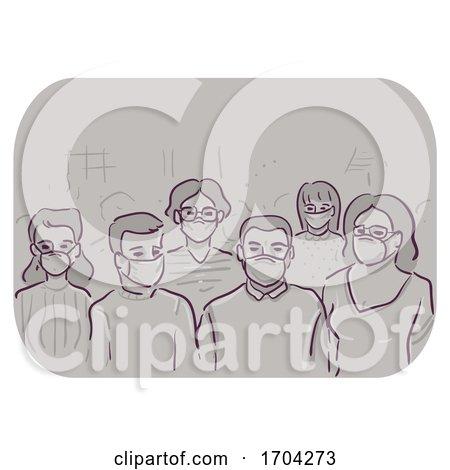 Pandemic Crowd Public Wear Mask Illustration by BNP Design Studio