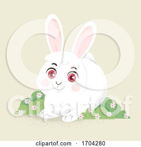 Bunny Flower Shrub Illustration by BNP Design Studio