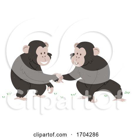 Chimpanzee Touch Hands Greet Illustration by BNP Design Studio