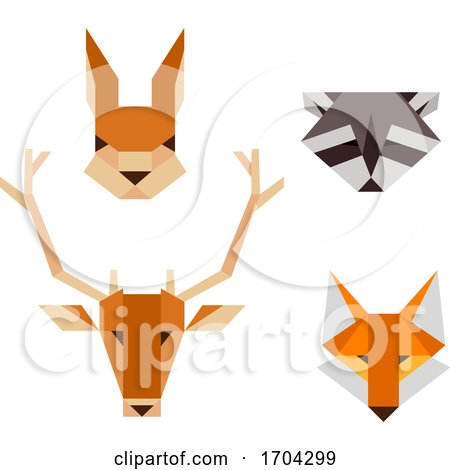 Woodland Animals Geometric Shape Illustration by BNP Design Studio