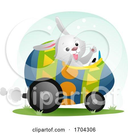 Easter Bunny Mascot Egg Car Illustration by BNP Design Studio