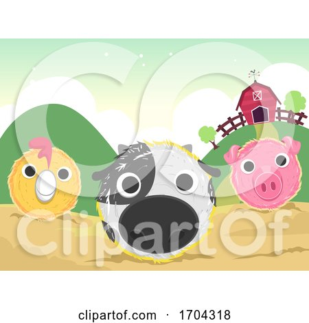 Farm Haystack Art Animals Illustration by BNP Design Studio