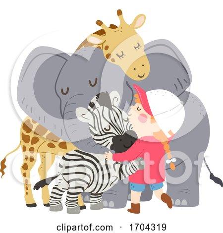Kid Girl Animals Group Hug Illustration by BNP Design Studio