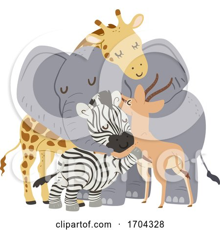 Animals Group Hug Gazelle Illustration Posters, Art Prints