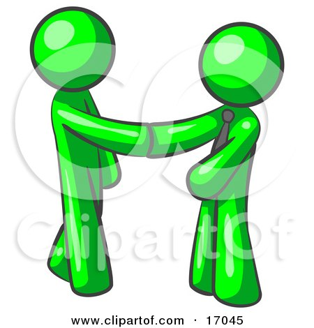 Lime Green Man Wearing A Tie, Shaking Hands With Another Upon Agreement Of A Business Deal Clipart Illustration by Leo Blanchette