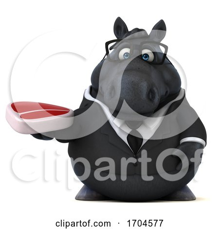 3d Chubby Black Business Horse, on a White Background Posters, Art Prints