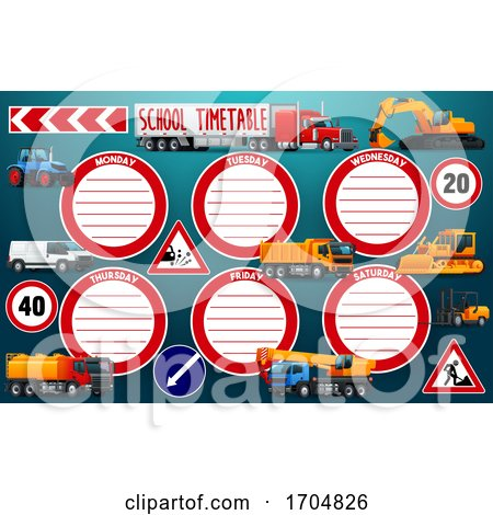 School Timetable Schedule with Transport Posters, Art Prints