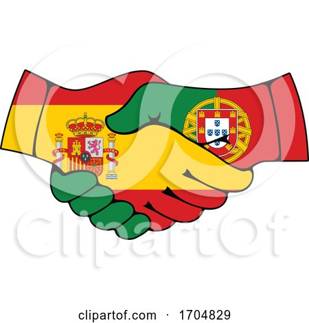 Portugal and Spain Coat of Arms Handshake Posters, Art Prints