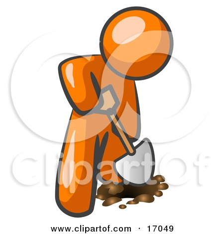 Orange Man Using A Shovel To Dig A Hole For A Plant In A Garden  Posters, Art Prints