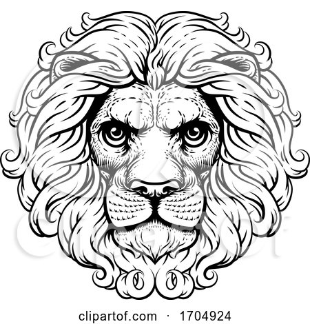 Lion Leo Fierce Lions Head Woodcut Animal Icon by AtStockIllustration