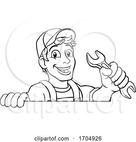 Mechanic Plumber Wrench Spanner Cartoon Handyman by AtStockIllustration