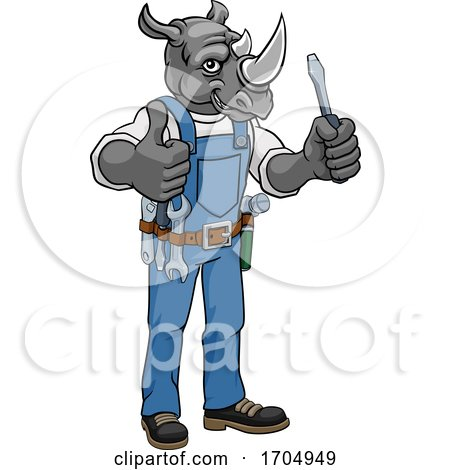 Rhino Electrician Handyman Holding Screwdriver Posters, Art Prints