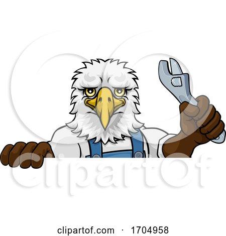 Eagle Plumber or Mechanic Holding Spanner Posters, Art Prints