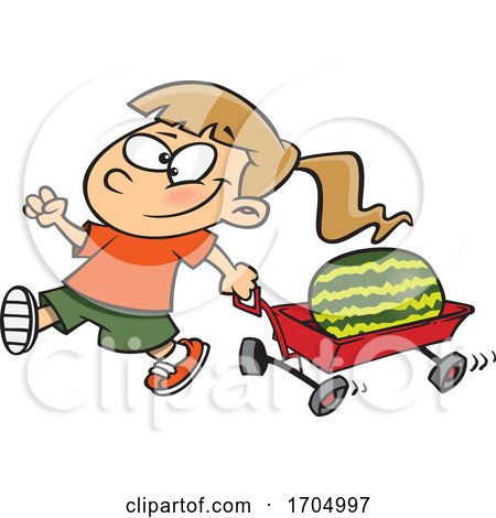 Clipart Cartoon Girl Pulling a Watermelon in a Wagon by toonaday