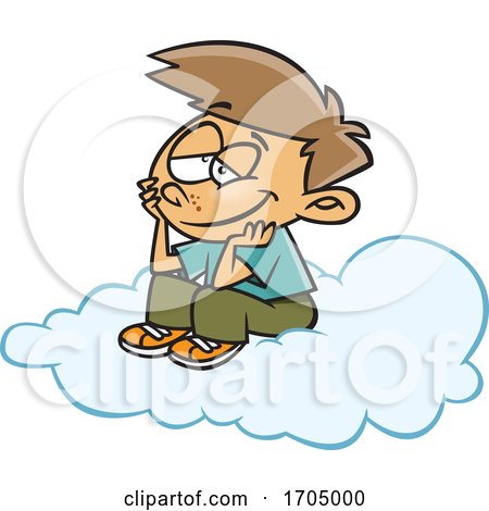 Clipart Cartoon Boy Daydreaming on a Cloud Posters, Art Prints