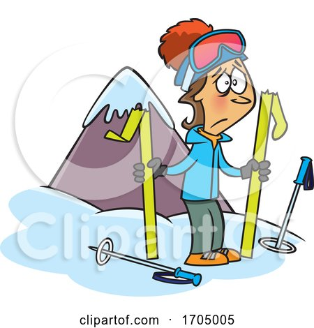 Clipart Cartoon Woman with Broken Skis by toonaday