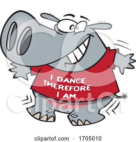 Clipart Cartoon Dancing Hippo by toonaday