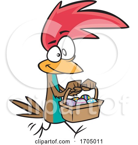 Clipart Cartoon Easter Chicken Carrying a Basket by toonaday