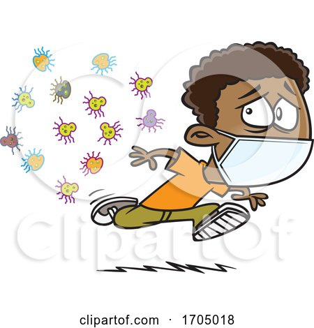 Clipart Cartoon Boy Wearing a Mask and Running from Germs by toonaday