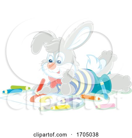 Bunny Rabbit Coloring an Easter Egg by Alex Bannykh