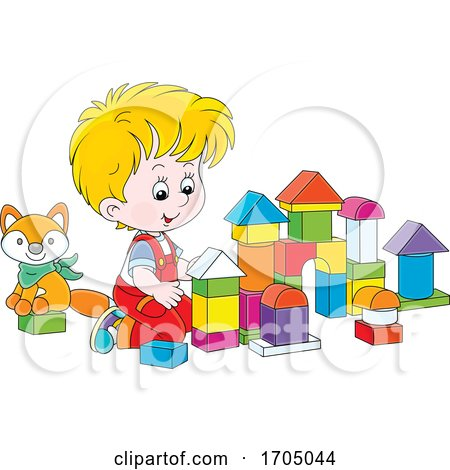 Boy Playing with Blocks by Alex Bannykh