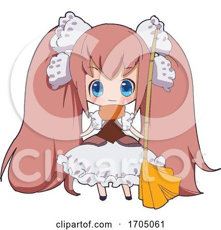 Blue Eyed Pink Haired Manga Maid Girl by mayawizard101