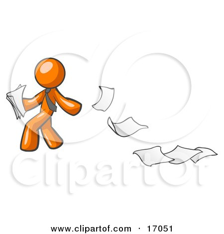 Orange Man Dropping White Sheets Of Paper On A Ground And Leaving A Paper Trail, Symbolizing Waste Clipart Illustration by Leo Blanchette